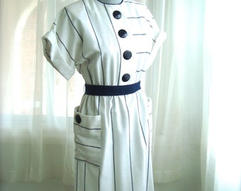1980's Linen Day Dress in White and Navy Blue Stripes, Size Small