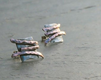 The Archaeology Puzzle - Sterling silver and copper post earrings
