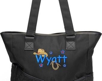 Personalized Black Diaper Bag Monogram Cowboy Western