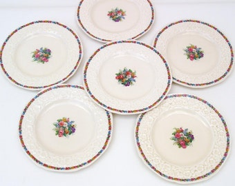 Antique Salad Plates, Gainsborough Crown Ducal, Bread and Butter Plates, Dessert Plates, Charm Pattern - Set of 6