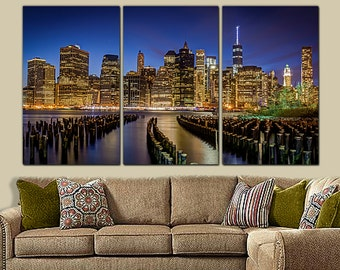 New York Skyline Canvas Art - Large Wall Art Canvas, HDR, New York City, New York Art, New York Print, New York Poster, New York Canvas Art