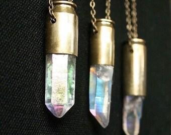 crystal bullet necklace // rainbow crystal necklace // opal aura // angel aura // quartz bullet // mystic moon beam