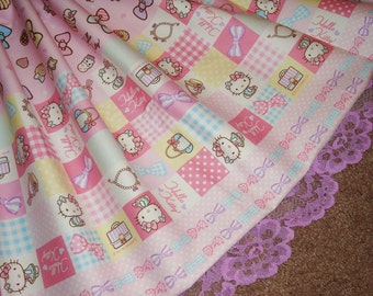 Girly Hello Kitty Pastel Polka Dot Gingham Patchwork Sweet Lolita Skirt - ANY SIZE