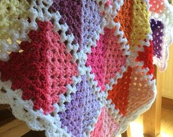 Summer Geometric Granny Square Crochet Throw