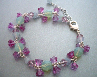Pastel bead charm bracelet, flower dangles, crystal bead links, bright silver, mint fuchsia mauve, Spring pastel flower bead jewelry