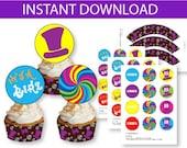 Willy Wonka Cupcake DIY Printable Kit - INSTANT DOWNLOAD -