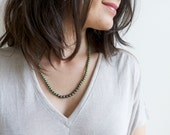 JUNIPER. pearl necklace with faceted pyrite.  beautiful mossy green.  edgy, feminine, minimalist necklace.