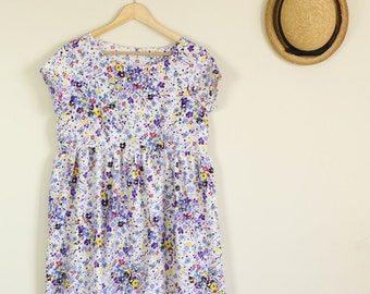 Purple and White Floral Babydoll Dress Loose Fit Handmade Summer 70s 90s