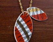 Geometric Red and Gold Banded Necklace - Recycled China - Material and Movement
