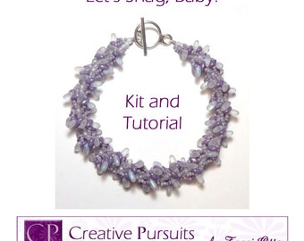 Let's Shag, Baby! Kit and Tutorial (spiral rope bracelet using SuperDuos, Rizos, and seed beads)