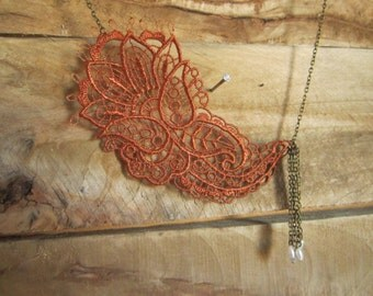 Copper Lace Necklace with Antiqued Bromze chain and ivory beaded tassel, rust, tassel necklace, venice lace, statement necklace,
