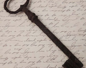 Antique Large Weathered French Key / Crusty Rusty Key / Old French Key / Skeleton Key / French Decor