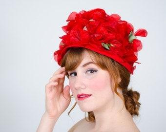 1950s vintage hat / flower hat / Suzy Lee