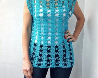 Crochet Pattern PDF  top woman tunic top tank top women  crochet dress, beach cover up, DIY, photo tutorial