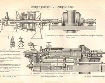 1903 Steam Engines, Steam Turbines Vintage Engraving Print