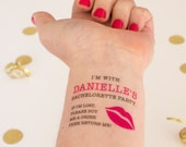 Kiss Temporary Tattoos,  If Lost, Buy Me a Drink, Bachelorette Tattoos, Lips Tattoos, Personalized Tattoos including Bride Tattoo