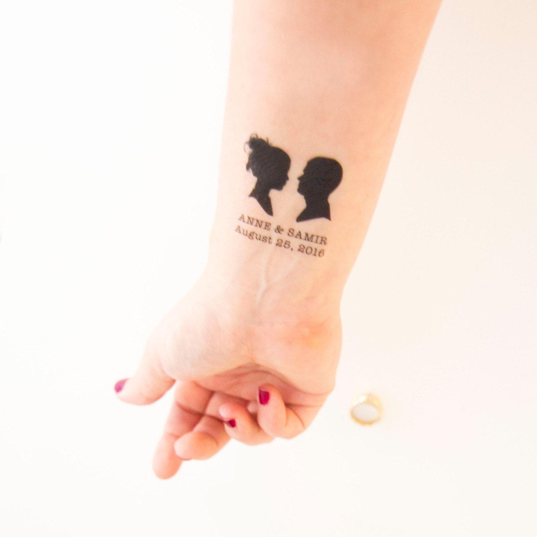 wedding temporary tattoos cameo outline couple silhouette
