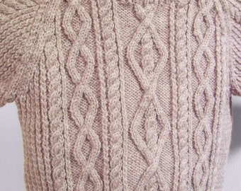 Child's Sweater, Child's fisherman cables sweater, Child's aran sweater, Hand Knit Sweater, Wool Sweater