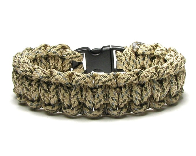 Paracord Bracelet Sand Camo Beige Tan Camouflage Survival Accessory Military Veteran Army Hiking Climbing New Woven Cord Father's Day Gifts