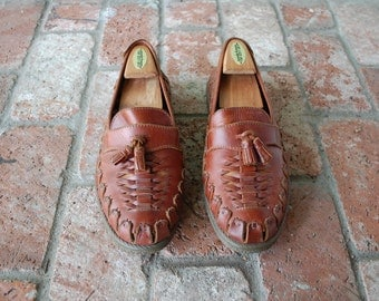 VTG Mens 9 Slatters Australian Authentic Brown Leather Woven Loafers Oxfords Huaraches Fisherman Sandals Braided Designer Boho Hippie Boat