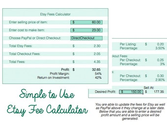 Simple Excel Etsy Fee Calculator, Fees, Paypal Fees, Direct Checkout Fees, Editable Excel Download