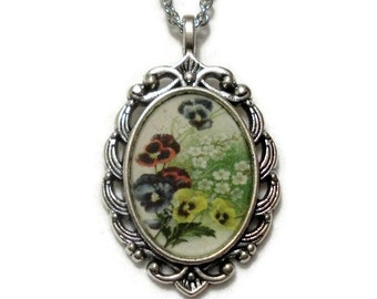 Pansy Necklace Pansy Pendant Jewelry