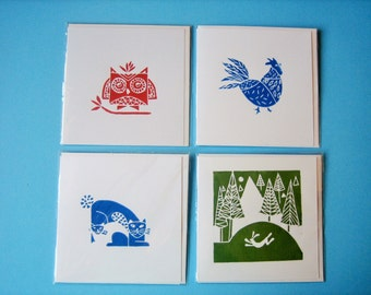 Set of 4 Handmade Linocuts Cards - Owl Hare Cat and Chicken - Original Hand Printed Cards
