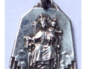 "Our Lady of Carmel and the Holy Scapular Silver Vintage Religious Medal Pendant on 18"" sterling silver rolo chain"