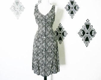 Vintage 90s Celtic Tribal Print Sun Dress S Grunge Festival Black Cream Tie Belt Knee Length