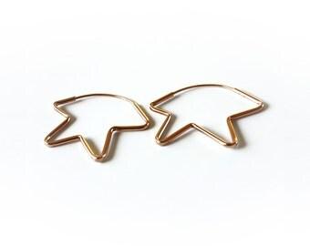 Gold star earrings, Gold hoop earrings 14k, Star hoop earrings, 14k solid Gold earrings, 14k rose Gold earrings