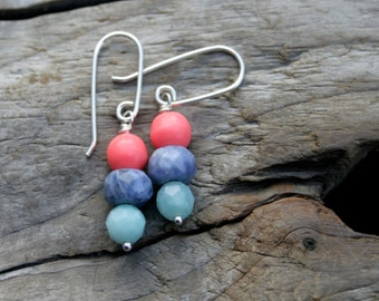Coral, Blue and Aqua Gemstone Wire Wrapped Sterling Silver Earrings. Coral, Sodalite, Amazonite.  Handmade ear wires, ear hooks