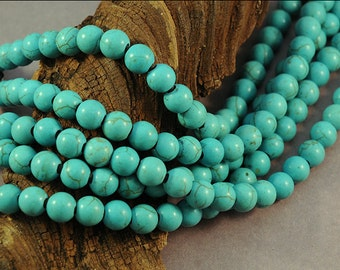 Howlite Turquoise - LARGE HOLE Beads - 8mm Smooth Round - Full 8 Inch Strand - 2.5mm Hole