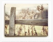 Wood Sign: Country Home Decor Fence Wood Print, Golden Grasses, Rustic Fence, Farmhouse Wall Art, Rustic Decor, Country Farmhouse Beige.