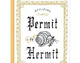 Permit to Hermit Introvert Card