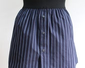 Navy Blue Striped Cotton Upcycled Skirt with Elastic Waistband, size Extra Small