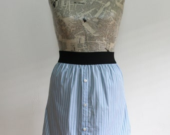 Pale Blue Striped Cotton Upcycled Cotton Skirt, Size Extra Small