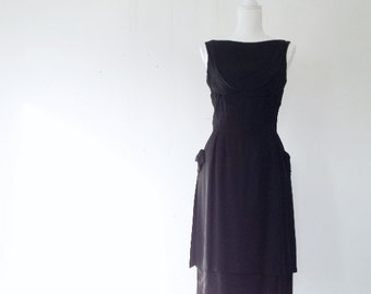 1960s Black Cocktail Dress 60s Vintage Fit and Flare Dress Mardi Gras New Look Full Skirt Small Bombshell Low Back Mid Century Prom Dress
