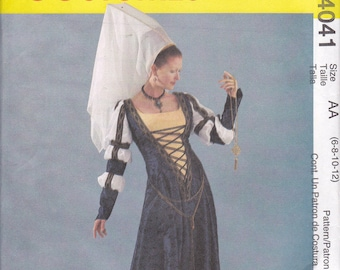 McCalls 4041 Medieval Costume UNCUT Sewing Pattern Sizes 6 8 10 12 Bust 30 1/2 31 1/2 32 1/2 34 Semi fitted flared gown Evening length OOP
