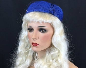 Vintage 1950's I. Offell of San Francisco Nylon Blue Cocktail Hat with 50s Velvet Ribbon and Nylon Lace Small Medium Large Size