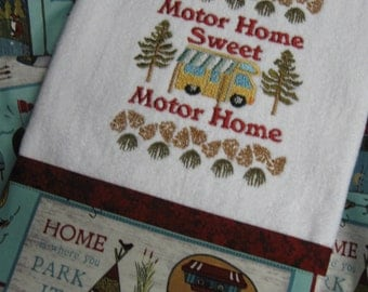 "Handmade embroidered 'Motor Home"" Hand Towel"