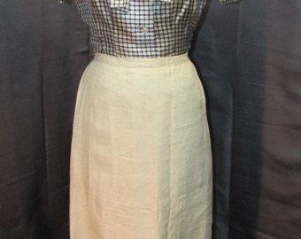 Vintage 1920s Linen Skirt Lawn Tennis / Golf Skirt Sporty Vintage Clothing  Natural Linen Mid Shin Length Strainght Sided Med