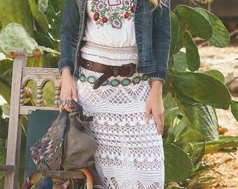 Crocheted long skirt , made to order , crochet handmade , chic , elegant , spring , summer , beach,