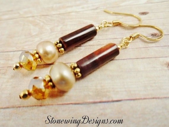 Red Tigers Eye, White Pearls and Crystal Earrings