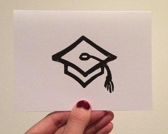 Graduation Hat Linocut Card