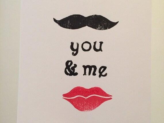 You and Me Linocut Print