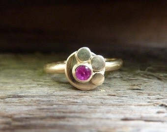 Gold and Ruby Half Daisy Ring
