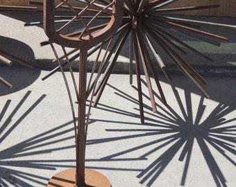 indoor outdoor sculpture, metal garden sculpture, freestanding sculpture, recycled steel sculpture, industrial art, rusty metal garden art,
