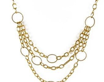 Vintage Necklace Mod, Gold Tone / Vintage Twiggy Necklace - Collier.