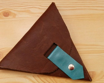 Leather coin purse, leather purse, brown coin purse, turquoise leather, turquoise coin purse, leather brown wallet, leather card holder