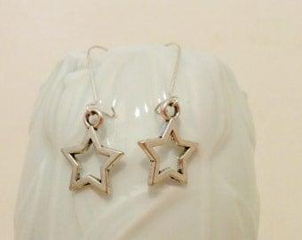 Stars earrings, star earrings, sterling silver, dangle earrings, star jewelry, stars jewel, long earrings, short earrings, drop earrings